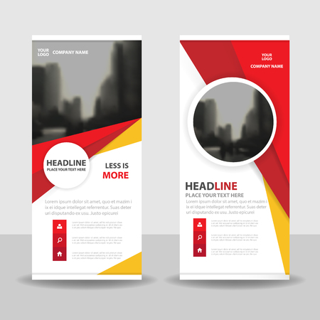 red flag up: Red yellow circle roll up business brochure flyer banner design , cover presentation abstract geometric background, modern publication x-banner and flag-banner, layout in rectangle size. Illustration
