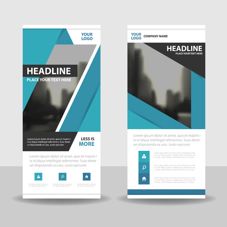 exhibitions: Blue roll up business brochure flyer banner design , cover presentation abstract geometric background, modern publication x-banner and flag-banner, layout in rectangle size. Illustration