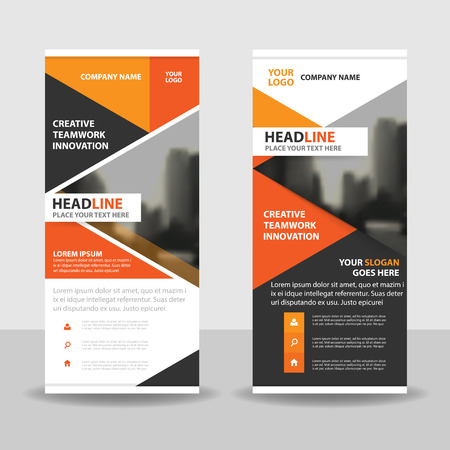 roll up: Orange triangle roll up business brochure flyer banner design , cover presentation abstract geometric background, modern publication x-banner and flag-banner, layout in rectangle size.