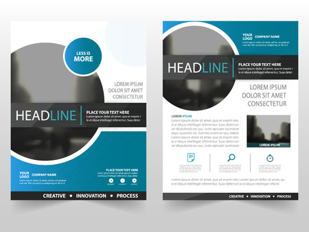 Blue black circle business Brochure Leaflet Flyer annual report template design, book cover layout design, abstract business presentation template, a4 size design Stock Illustratie