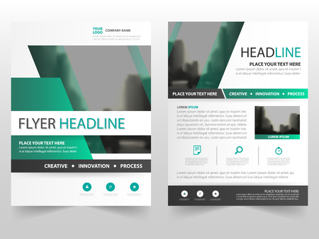 magazine template: Green business Brochure Leaflet Flyer annual report template design, book cover layout design, abstract business presentation template, a4 size design