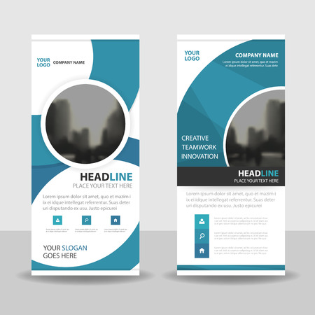 Blue Circle roll up business brochure flyer banner design , cover presentation abstract geometric background, modern publication x-banner and flag-banner, layout in rectangle size.