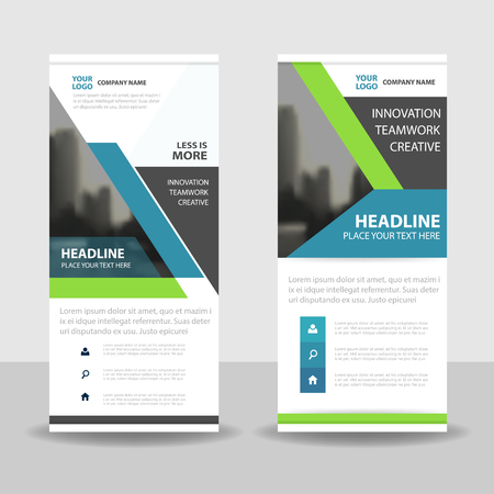 brochure background: Green blue black roll up business brochure flyer banner design , cover presentation abstract geometric background, modern publication x-banner and flag-banner, layout in rectangle size. Illustration