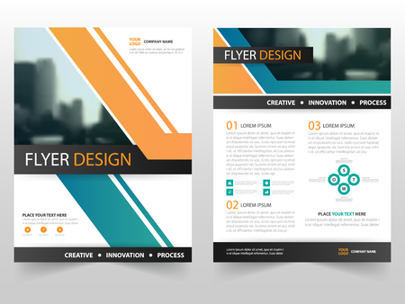 business flyer: Orange green business Brochure Leaflet Flyer annual report template design, book cover layout design, abstract business presentation template, a4 size design Illustration