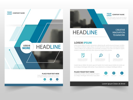 Blue technology business Brochure Leaflet Flyer annual report template design, book cover layout design, abstract business presentation template, a4 size design Vectores
