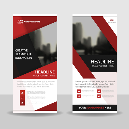 red and black: Red black roll up business brochure flyer banner design , cover presentation abstract geometric background, modern publication x-banner and flag-banner, layout in rectangle size. Illustration