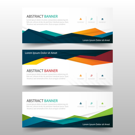 Abstract Colorful polygonal banner template, horizontal advertising business banner layout template flat design set , clean abstract cover header background for website design
