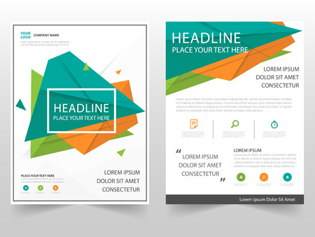 orange abstract: Green orange triangle geometric Leaflet Brochure Flyer annual report template design, book cover layout design, abstract business presentation template, a4 size design