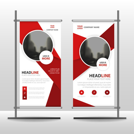 red banner: Abstract Red circle Business Roll Up Banner flat design template ,Abstract Geometric banner template Vector illustration set, abstract presentation brochure flyer template vertical template vector