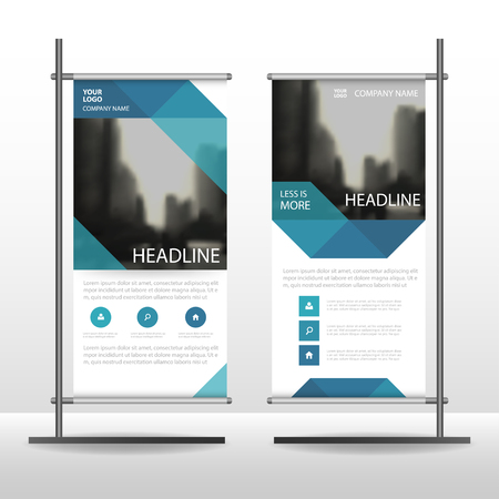 banner design: Blue Abstract Business Roll Up Banner flat design template ,Abstract Geometric banner template Vector illustration set, abstract presentation brochure flyer template vertical template vector