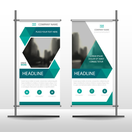 communication icons: Green hexagon Business Roll Up Banner flat design template ,Abstract Geometric banner template Vector illustration set, abstract presentation brochure flyer template vertical template vector