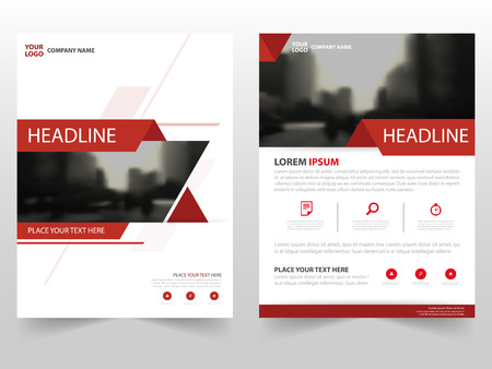 Red triangle Vector annual report Leaflet Brochure Flyer template design, book cover layout design, abstract business presentation template, a4 size design Stok Fotoğraf - 63939147