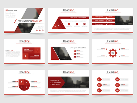 advertising design: Red triangle presentation templates, Infographic elements template flat design set for annual report brochure flyer leaflet marketing advertising banner template