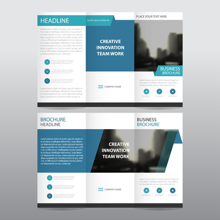 Blue business trifold Leaflet Brochure Flyer report template vector minimal flat design set, abstract three fold presentation layout templates a4 size