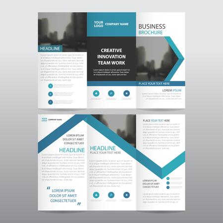 Blauwe pijl zakelijke driebladige Pamflet Brochure Flyer rapport template vector minimale plat ontwerp set, abstracte drie keer presentatie lay-out-sjablonen A4-formaat