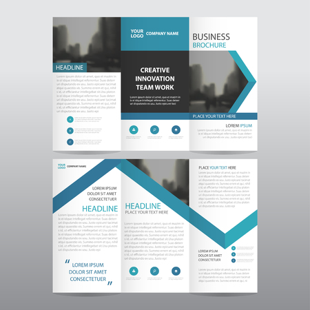 Blue arrow business trifold Leaflet Brochure Flyer report template vector minimal flat design set, abstract three fold presentation layout templates a4 size