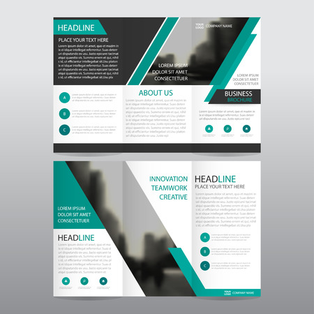 Green abstract business trifold Leaflet Brochure Flyer report template vector minimal flat design set, abstract three fold presentation layout templates a4 size