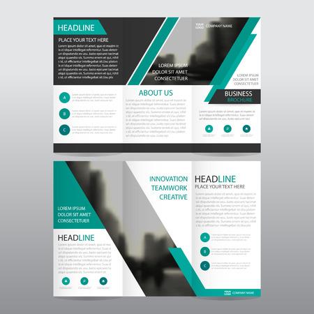 Vert trifold abstrait affaires Dépliant Brochure Flyer modèle de rapport vecteur minimal set design plat, résumé trois modèles de pliage présentation de mise en page au format A4 Illustration