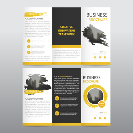 Yellow abstract business trifold Leaflet Brochure Flyer report template vector minimal flat design set, abstract three fold presentation layout templates a4 size Illustration