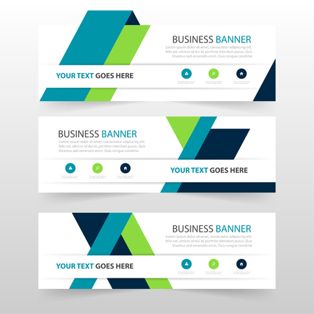 Green blue triangle corporate business banner template, horizontal advertising business banner layout template flat design set , clean abstract cover header background for website design Vetores