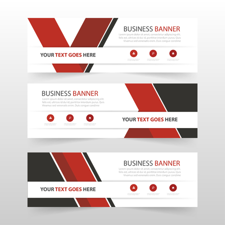 Red triangle corporate business banner template, horizontal advertising business banner layout template flat design set , clean abstract cover header background for website design