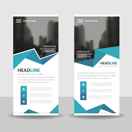 business flyer: Blue polygon Business Roll Up Banner flat design template ,Abstract Geometric banner template Vector illustration set, abstract presentation brochure flyer template vertical template vector Illustration