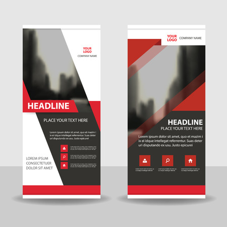 black and red: Red black Business Roll Up Banner flat design template ,Abstract Geometric banner template Vector illustration set, abstract presentation brochure flyer template vertical template vector