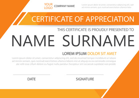 Orange Elegance horizontal certificate with Vector illustration ,white frame certificate template with clean and modern pattern presentation