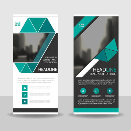 green and black: Green black triangle roll up business brochure flyer banner design , cover presentation abstract geometric background, modern publication x-banner and flag-banner, layout in rectangle size. Illustration