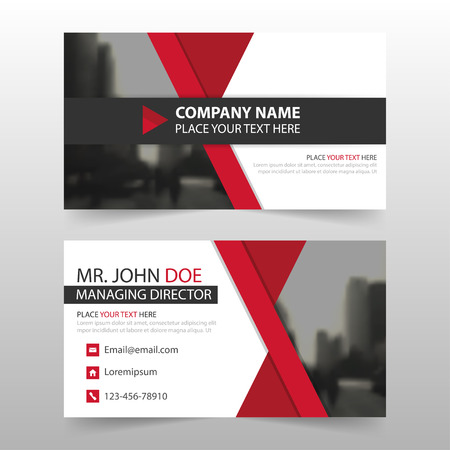 Red black corporate business card, name card template ,horizontal simple clean layout design template , Business banner card for website