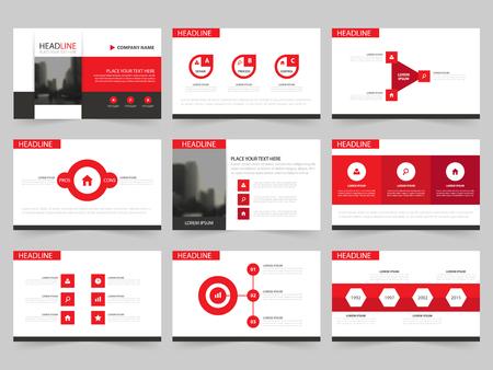 Rood Abstracte presentatiesjablonen, Infographic elementen sjabloon plat ontwerp set voor jaarverslag brochure flyer folder marketing reclame banner template