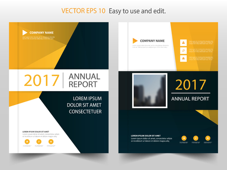 Yellow black abstract annual report Brochure design template vector. Business Flyers infographic magazine poster.Abstract layout template ,Book Cover presentation portfolio. Illustration