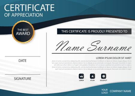 certificate design: Blue Elegance horizontal certificate with Vector illustration ,white frame certificate template with clean and modern pattern presentation