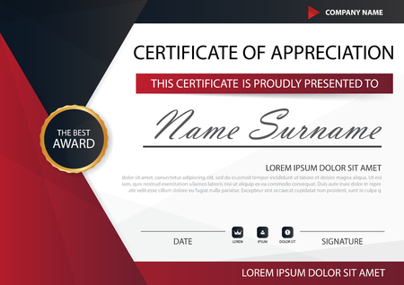 red and black: Red black Elegance horizontal certificate with Vector illustration ,white frame certificate template with clean and modern pattern presentation