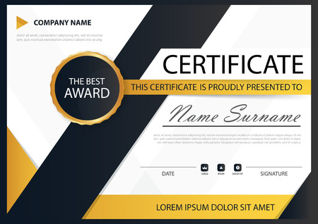 a4: Yellow black Elegance horizontal certificate with Vector illustration ,white frame certificate template with clean and modern pattern presentation