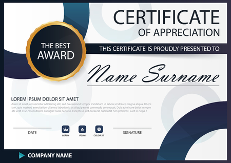 Blue black Elegance horizontal Circle certificate with Vector illustration ,white frame certificate template with clean and modern pattern presentation