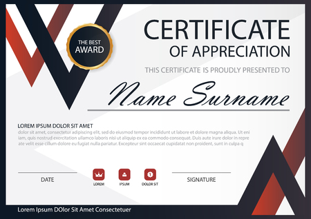 black and red: Red Black Elegance horizontal certificate with Vector illustration ,white frame certificate template with clean and modern pattern presentation