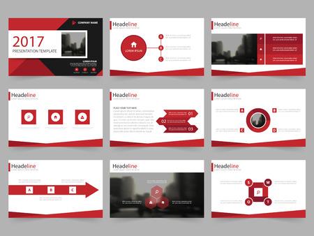 Rood Abstracte presentatiesjablonen, Infographic elementen sjabloon plat ontwerp set voor jaarverslag brochure flyer folder marketing reclame banner template Vector Illustratie