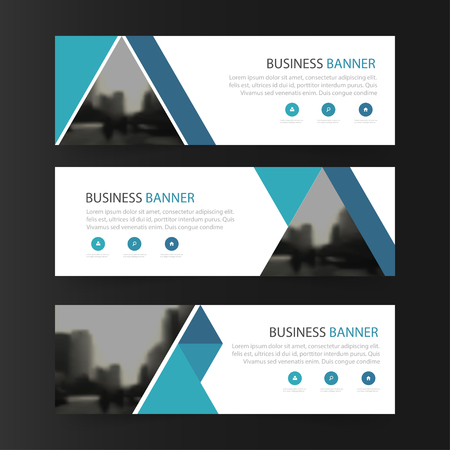 abstract business: Blue abstract triangle corporate business banner template, horizontal advertising business banner layout template flat design set , clean abstract cover header background for website design Illustration