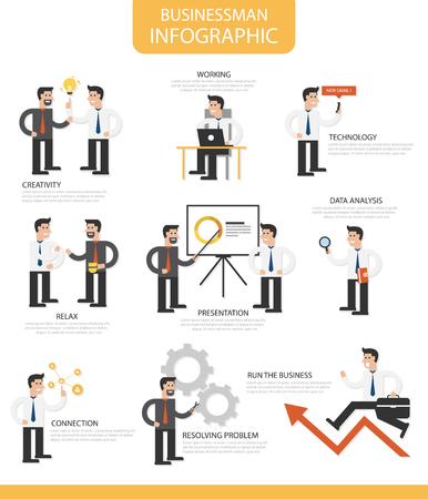 cog gear: Businessman infographic cartoon flat design template for business, businessman with light bulb, arrow, presentation, smartphone and cog gear