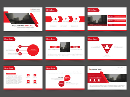 advertising design: Red Abstract presentation templates, Infographic elements template flat design set for annual report brochure flyer leaflet marketing advertising banner template