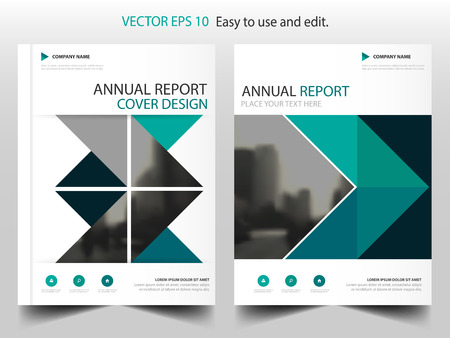 business report: Green abstract triangle annual report Brochure design template vector. Business Flyers infographic magazine poster.Abstract layout template ,Book Cover presentation portfolio.