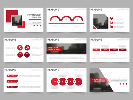 roadmap: Red Square Abstract presentation templates, Infographic elements template flat design set for annual report brochure leaflet marketing advertising banner template