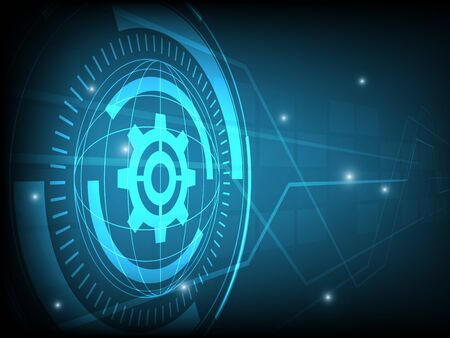 futuristic background: Abstract blue cog gear Circle digital technology background, futuristic structure elements concept background design