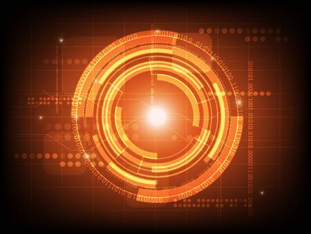 Abstract orange circle digital technology background, futuristic structure elements concept background design Illustration