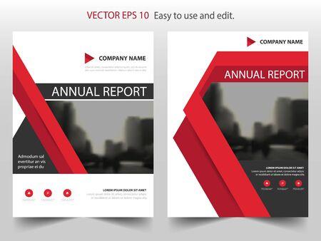 Modèle de conception vecteur triangle rouge rapport annuel brochure dépliant design, fond plat dépliant présentation présentation, mise en page au format A4