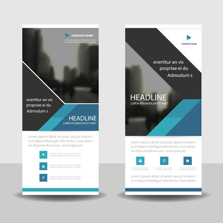 rollup: Blue triangle roll up business brochure flyer banner design , cover presentation abstract geometric background, modern publication x-banner and flag-banner, layout in rectangle size.