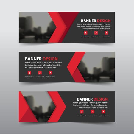Red abstract corporate business banner template, horizontal advertising business banner layout template flat design set , clean abstract cover header for website design