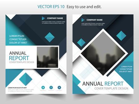 青色の正方形ベクトル パンフレット年次報告書リーフレット チラシ テンプレート デザイン、ブックカバーのレイアウト デザイン、抽象的なビジネ