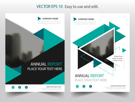 Green triangle Vector Brochure annual report Leaflet Flyer template design, book cover layout design, abstract business presentation template, a4 size design